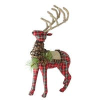 "16.75"" Holiday Moments Red Plaid Standing Stuffed Reindeer Christmas Decoration - brown"