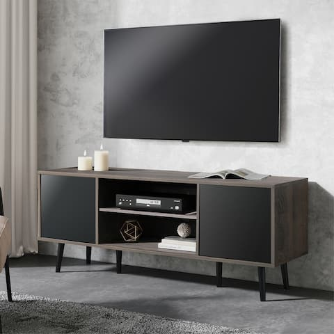 "WAMPAT TV Stand Mid century Media centre for TVs up to 65""-Black&Grey"