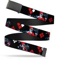 Blank Black  Buckle Harley Quinn Shooting Poses Diamonds Black Red Web Belt
