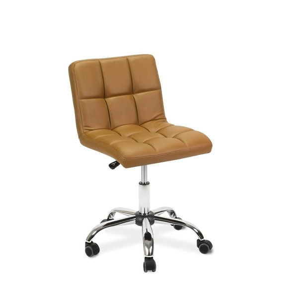 """TOTO Home Office Button-Tufted Desk Chair, Armless Thick Cushion, Adjustable Height 19""""-25"""", Cappuccino. Opens flyout."""