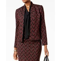 Kasper Red Womens Size 6 Jacquard Chevron Open-Front Blazer Jacket