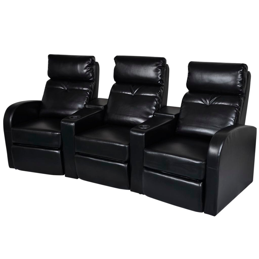 Cool Vidaxl Artificial Leather Home Cinema Recliner Reclining Sofa 3 Seat Black Gmtry Best Dining Table And Chair Ideas Images Gmtryco