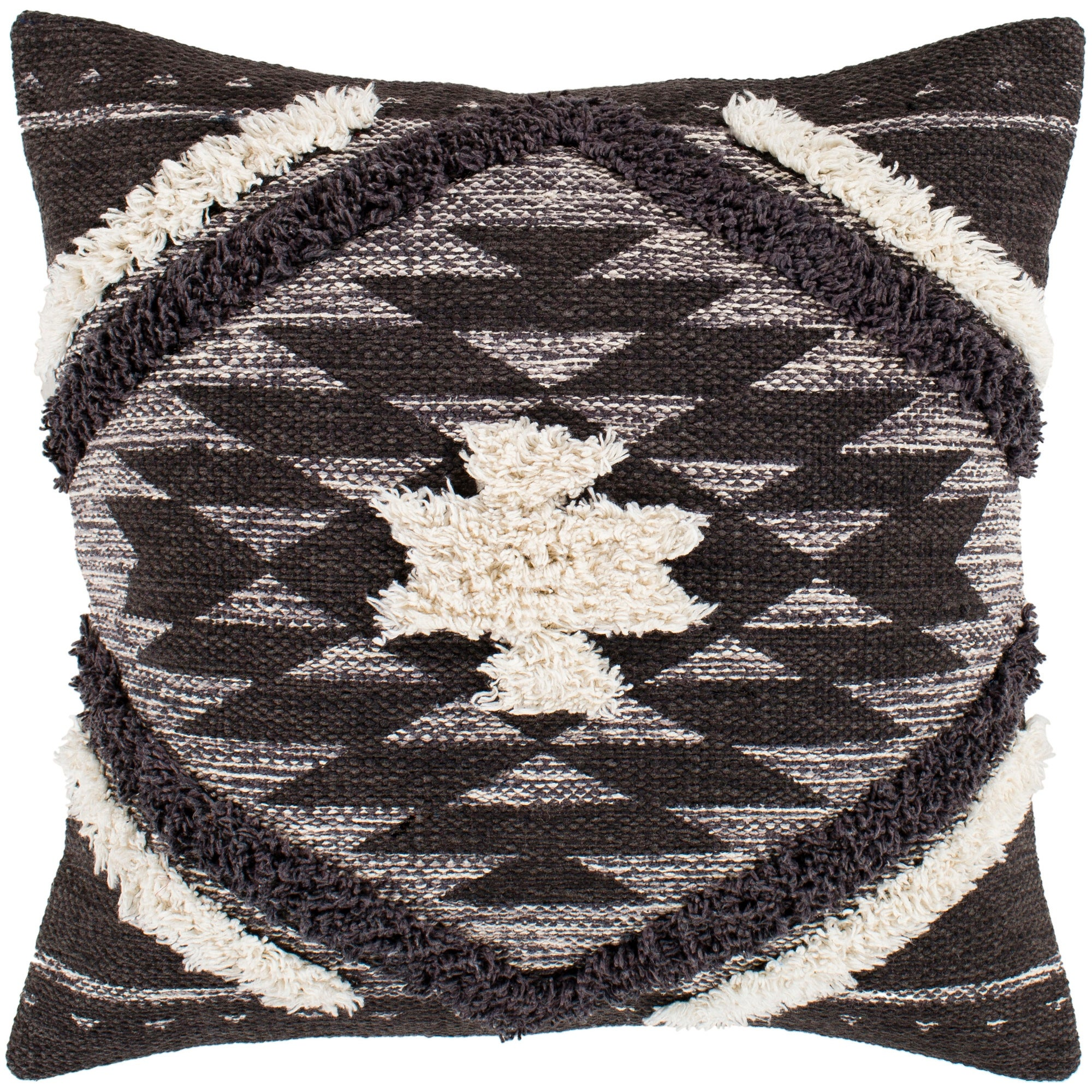 Katherine Black Cream Boho Shag Throw Pillow Cover 20 X 20 On Sale Overstock 23144532