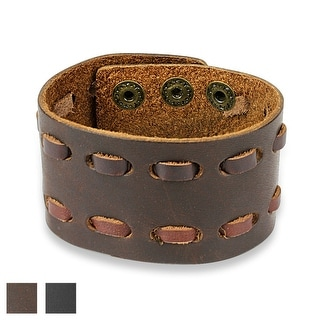Double Stiched Adjustable Leather Bracelet (Sold Ind.)
