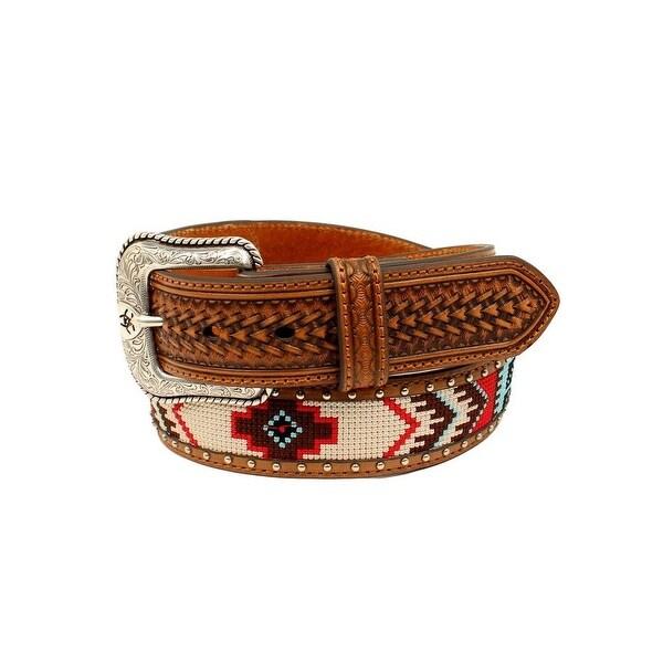 Ariat Western Belt Men Nailhead Fabric Center Round Concho