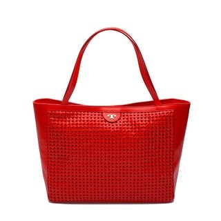 Tory Burch Women's Leather Satchel Handbag Erica Tote Poppy Red - M