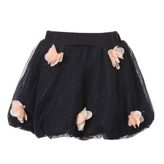 Richie House Girls' Blue Sparkly Skirt with Pink Florets
