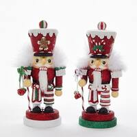 Pack of 2 Red and Green Nutcrackers with Glittering Hats Christmas Decorative Figurine 8""