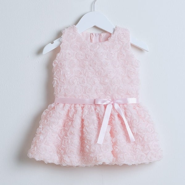 Sweet Kids Baby Girls Pink Rosette Easter Special Occasion Dress 6-24M