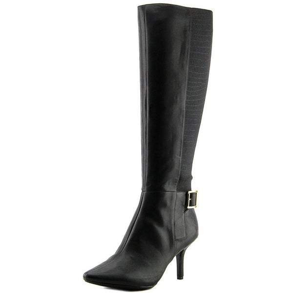 Calvin Klein Julietta Wide Calf Women Round Toe Leather Black Knee High Boot