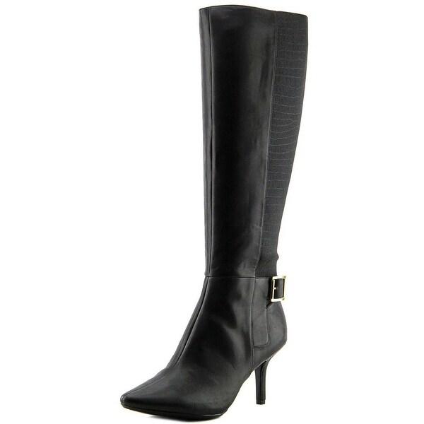 Calvin Klein Julietta Wide Calf Women  Round Toe Leather Black Knee High Boot