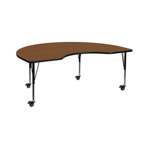 "Offex 48""W x 72""L Mobile Kidney Shaped Activity Table with 1.25"" Thick Oak Laminate Top and Height Adjustable Pre-School Legs"