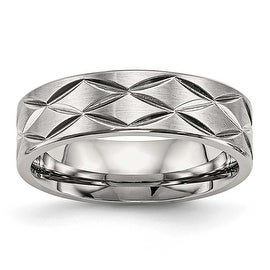 Stainless Steel Brushed and Polished Diamond-cut 6.5 mm Band Ring - Sizes 7 - 13