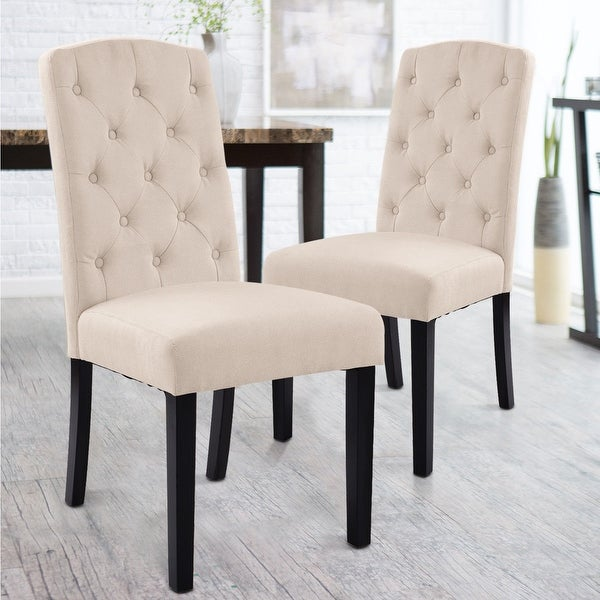Costway Set Of 2 Accent Dining Chair Fabric Wood Tufted Modern ...