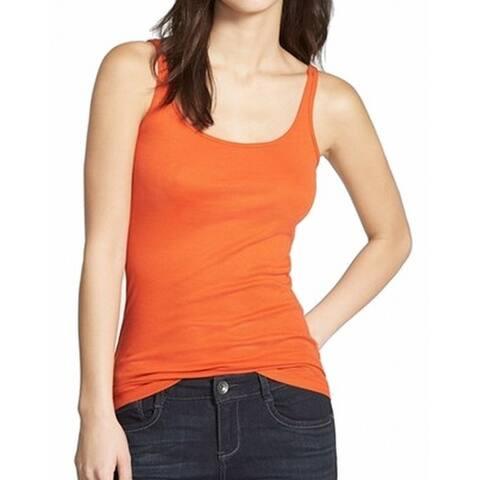 Halogen Womens Top Orange Size Large L Solid Scoop Neck Cami Stretch