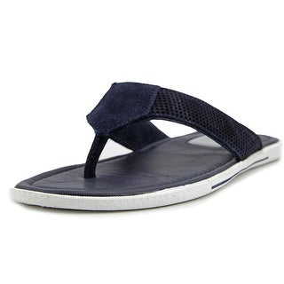 Kenneth Cole NY Final Word Men  Open Toe Leather Blue Thong Sandal