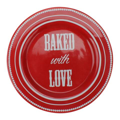 "7.5"" Red and White 'Baked with Love' Dessert Plate - N/A"