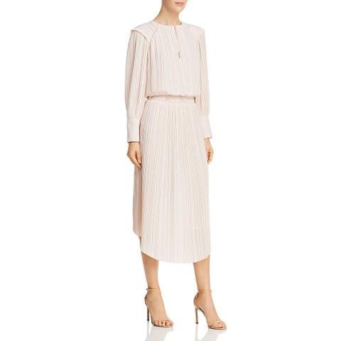 Joie Womens Rheia Midi Dress Pleated V-Neck - Shimmer - XXS