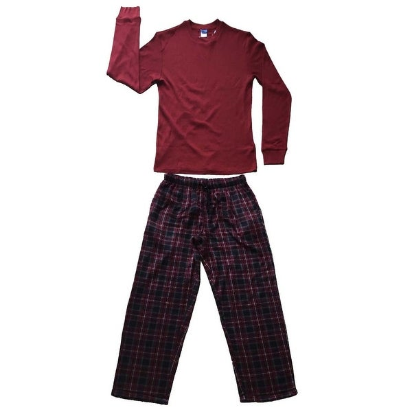 Men Cotton Thermal Top & Fleece Lined Pants Pajamas Set (Dark Red)