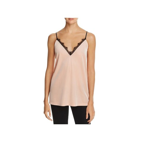 French Connection Womens Camisole Top Velvet Lace Trim