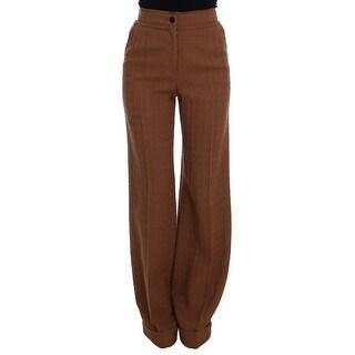 Dolce & Gabbana Brown Wool Stretch High Waist Pants - it40-s