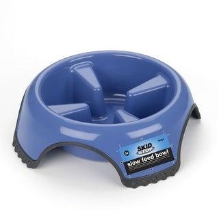 """Petmate JW Skid Stop Slow Feed Dog Bowl Large Blue 10.5"""" x 10.5"""" x 3.25"""""""