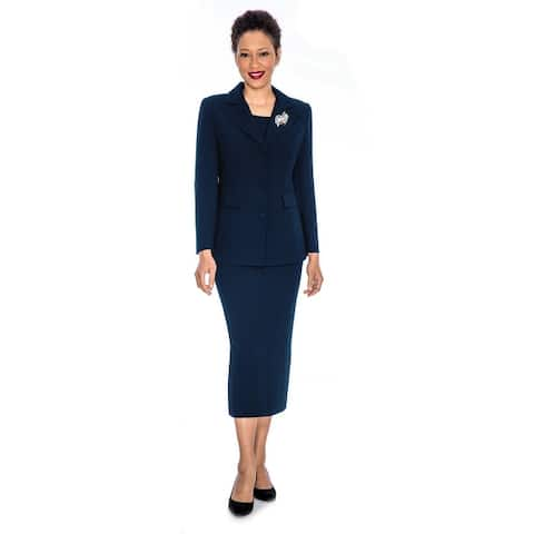 Giovanna Signature 2pc Notch Collar 3-button Skirt Suit w/ Brooch