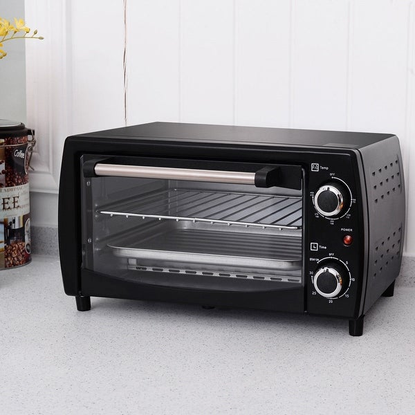 Costway 750W Electric Toaster Oven Broiler Pizza 10L Countertop Black