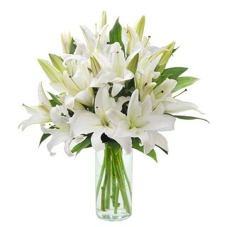 KaBloom - Lovely Lily Collection - 13 White Oriental Liles with Vase