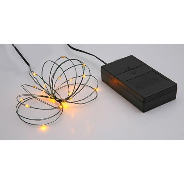 Multi Function Ultra Slim Wire Christmas Light Set - 24 Yellow LED Lights