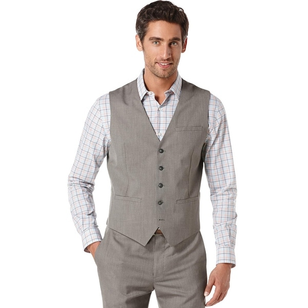 1336f6467229 Shop Perry Ellis Mens Vest Grey Large L Neat Button Front - Free Shipping  On Orders Over $45 - Overstock - 17914673