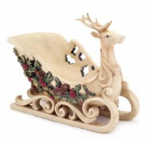 "9"" Reindeer Sleigh with Holly and Berry Accent Table Top Christmas Decoration - WHITE"