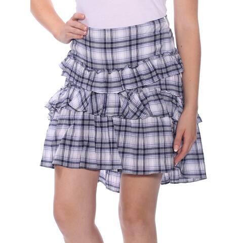 MAX STUDIO Womens Blue Ruffled Plaid Mini Layered Skirt Size: 8