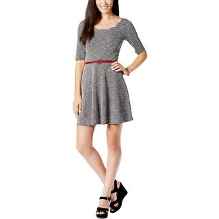 City Studio Womens Juniors Casual Dress Scalloped Hem Elbow Sleeves (Option: L)