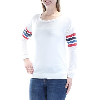 Womens Ivory Long Sleeve Jewel Neck Casual Top Size M