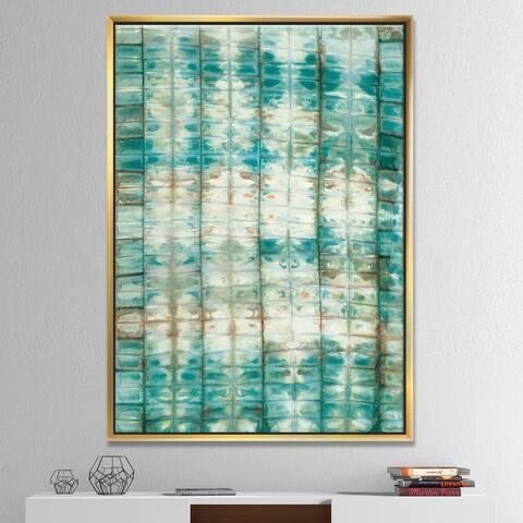 Designart 'Blue diamonds minimal geometric II' Transitional Framed Canvas - Blue