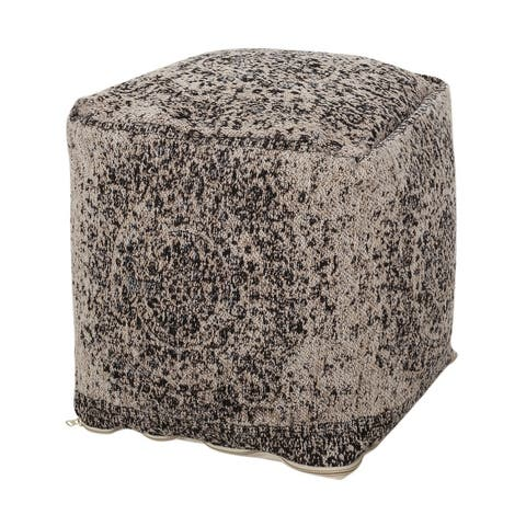 Arimo Contemporary Fabric Cube Pouf by Christopher Knight Home