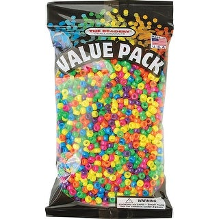 Pony Beads 6.5Mmx4mm .5Lb/Pkg-Neon Multicolor