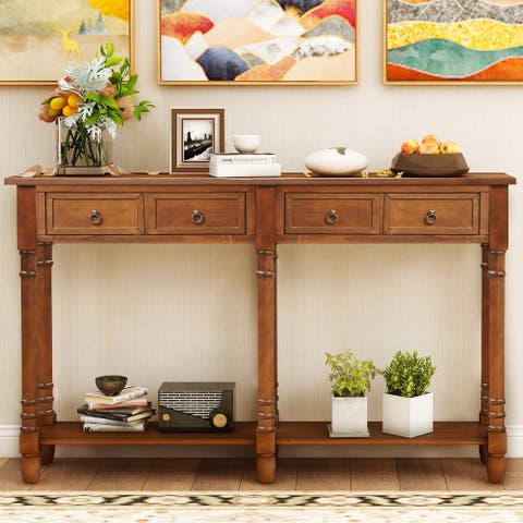 Antique Walnut Entryway Console Table with Drawers and Long Shelf