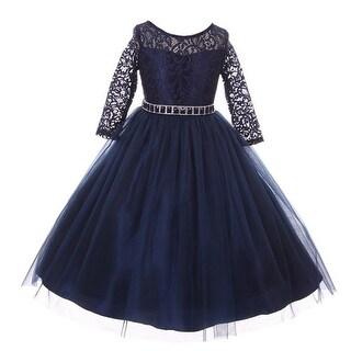 Girls Navy Floral Lace Rhinestone Waist Tulle Christmas Dress (Option: 14)