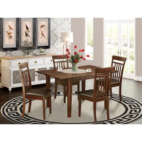 5-piece Small Mahogany Rubberwood Dining Set (Finish Option)