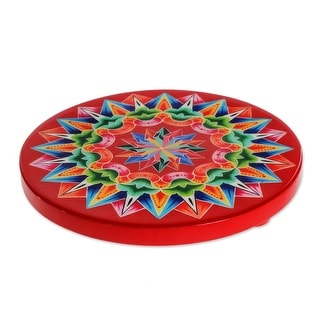 "Handmade Traditional Colors In Red Wood Trivet (Costa Rica) - 1"" H x 7"" Diam."