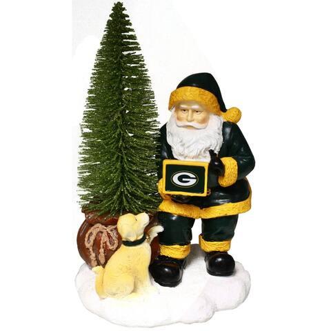 Green Bay Packers Santa w/ LED Christmas Tree Holiday Figurine