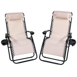 Sunnydaze Beige Oversized Zero Gravity Lounge Chair, Set of 2