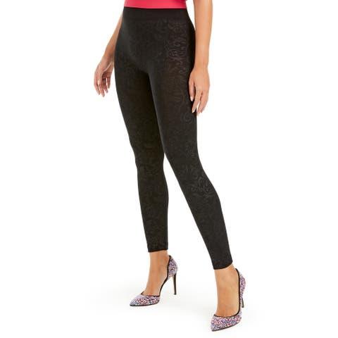 I.N.C. Women's Seamless Embossed Paisley-Print High-Waisted Leggings, Black, XL/XXL
