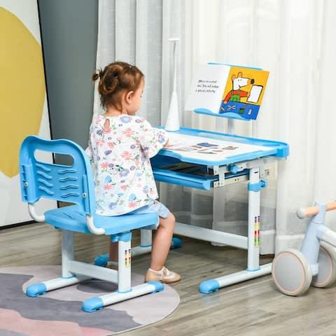 Qaba Kids Desk and Chair Set Height Adjustable Student Writing Desk Children School Study Table