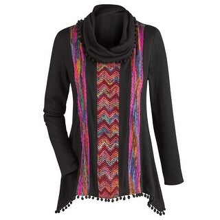 Women's Tunic Top - Colorful Black And Forever Cowl Neck Blouse