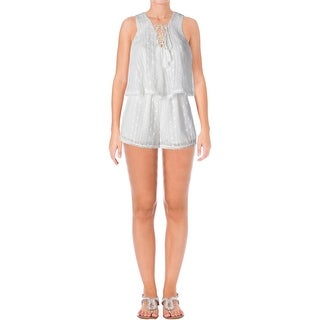 Aqua Womens Romper Embroidered Eyelet