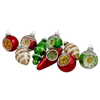 """Link to 9ct Silver and Red Retro Reflector Glittered 2-Finish Glass Christmas Ornaments 3.5"""" Similar Items in Christmas Decorations"""