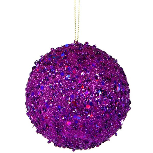 """Fancy Purple Holographic Glitter Drenched Christmas Ball Ornament 4.75"""" (120mm)"""